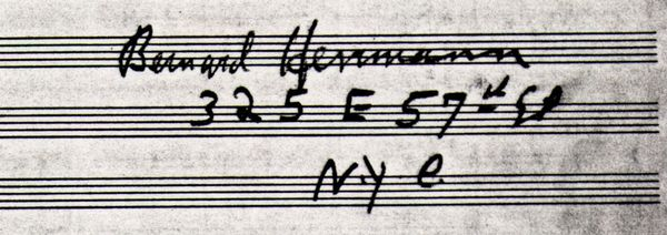Bernard Herrmann's signature and address (325 East 57th Street)