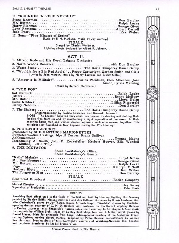 Concluding page of program for the Broadway revue, Americana